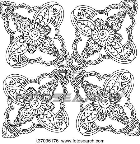 Coloring Pages For Adults Henna Mehndi Doodles Abstract Floral Elements Clip Art K37096176 Fotosearch