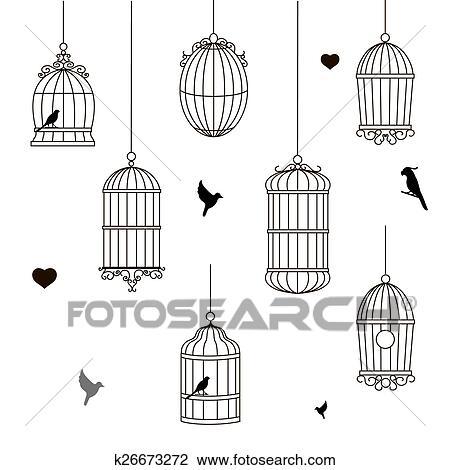 Clipart ensemble de diff rent style cage oiseau k26673272 recherchez des cliparts des - Dessin oiseau en cage ...