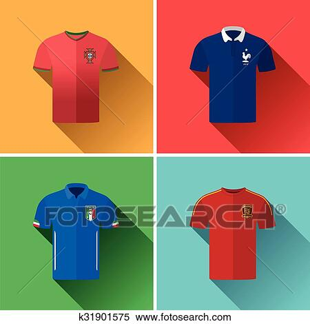 81e711092a5 Set of vector graphic flat icon images representing the national football  jerseys of Portugal, France, Italy and Spain.