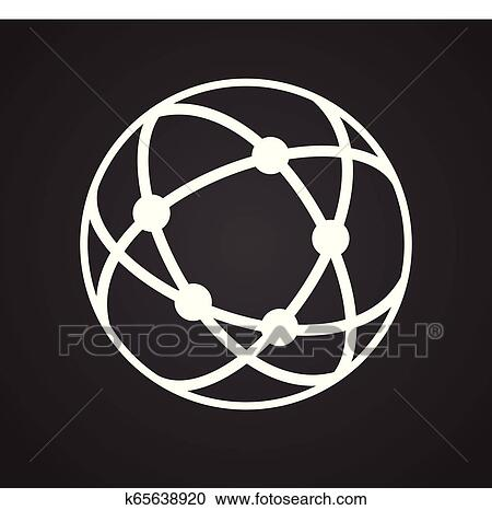Globe icon on black background for graphic and web design, Modern simple  vector sign  Internet concept  Trendy symbol for website design web button  or