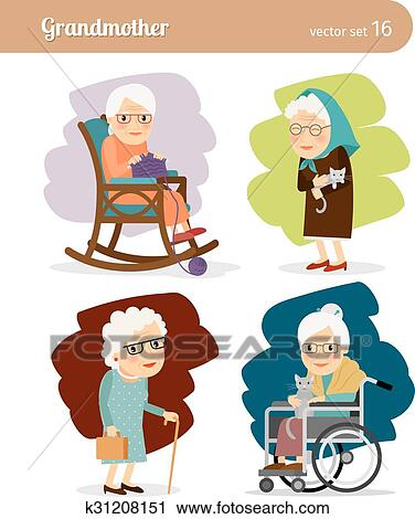 Grandmother Cartoon Character Clipart K31208151 Fotosearch