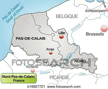 Map of North-pas-de-calais Clipart | k19927721 | Fotosearch Calais France Map on