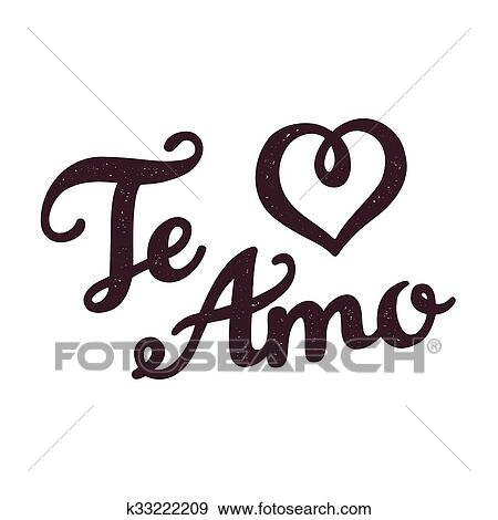 Clip Art Of Te Amo Greeting Card K33222209 Search Clipart