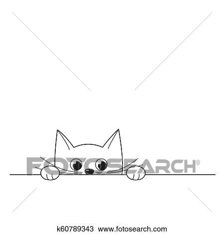 Vector Illustration Of Outline Cute Peeking Kitten Isolated On