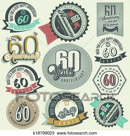 Clipart Of Vintage 60 Anniversary Collection K18799023 Search Clip