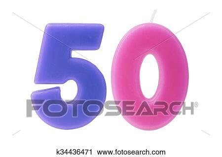 Stock Fotografie 50th Geburtstag Kerzen Freigestellt K34436471