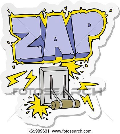 Aufkleber Von A Karikatur Elektrischer Schalter Zischen Clipart