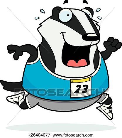 clip art of cartoon badger running race k26404077 search clipart rh fotosearch com wisconsin badger clipart badger clipart