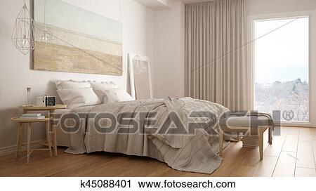 Clipart - classique, chambre à coucher, scandinave, moderne, style ...