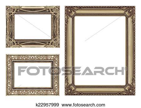 Colección de fotografía - conjunto, 3, de, vendimia, marrón, marco ...