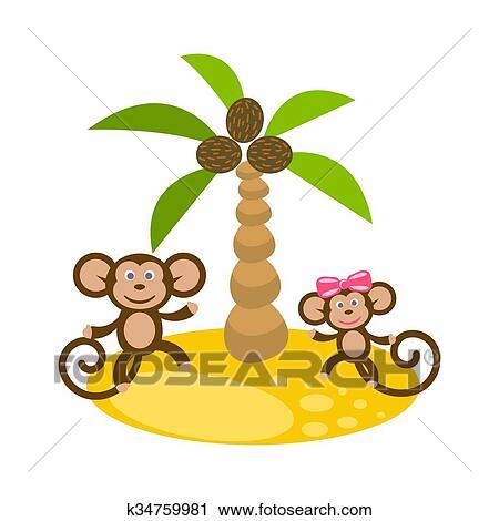 Dancar Macaco Par Perto Arvore Palma Coco Clip Art Clipart