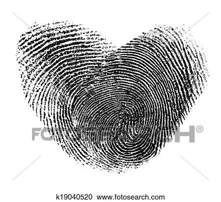 Stock Fotografie Fingerabdruck Herz Freigestellt Weiss K19040520