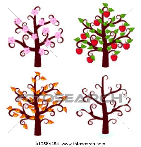 clipart of four seasons trees art k19564454 search clip art rh fotosearch com season clipart for kids season clipart