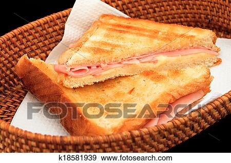 Grilled ham and cheese sandwich Stock Photo | k18581939 ...