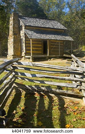 Stock Photograph Of Log Cabin Cades Cove Great Smoky Mountains
