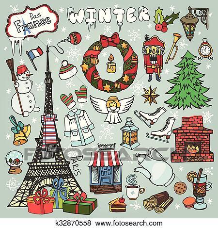 Clip Art Of Paris Winterdoodle Christmas Symbolslored K32870558