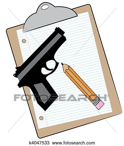 Dibujo Portapapeles Con Papel Lápiz Y Arma De Fuego K4047533