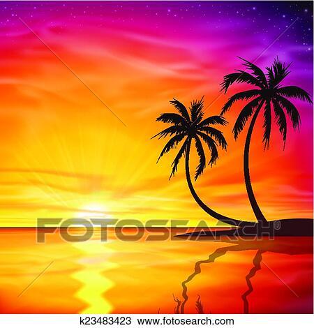 clipart sonnenuntergang sonnenaufgang mit palmen k23483423 suche clip art illustration. Black Bedroom Furniture Sets. Home Design Ideas