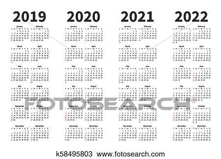 Calendrier, 2019, 2020, 2021, et, 2022, année, vecteur ...