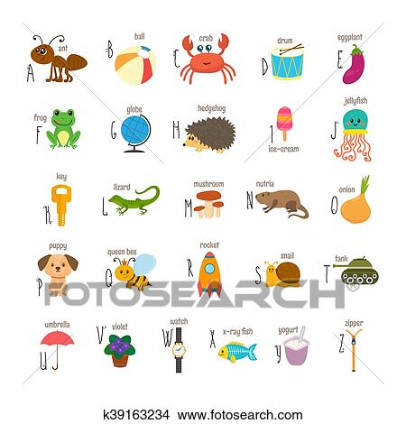 Children Alphabet With Cute Cartoon Animals And Other Funny Elements Abc Cartoon Vocabulary For Education Clipart