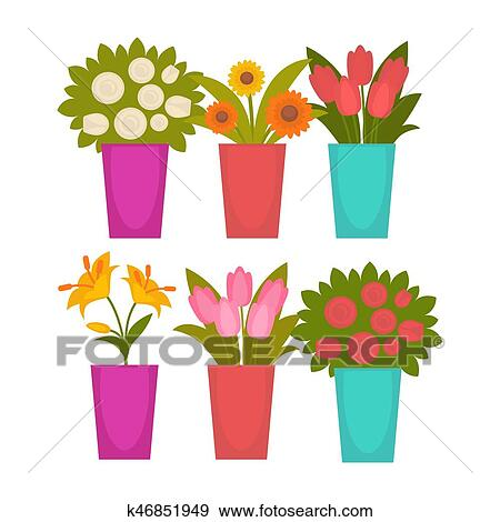 Clip Art Of Different Colorful Flowers In Vases K46851949 Search