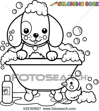 Clip Art Of Dog Taking A Bath Coloring Page K33164627