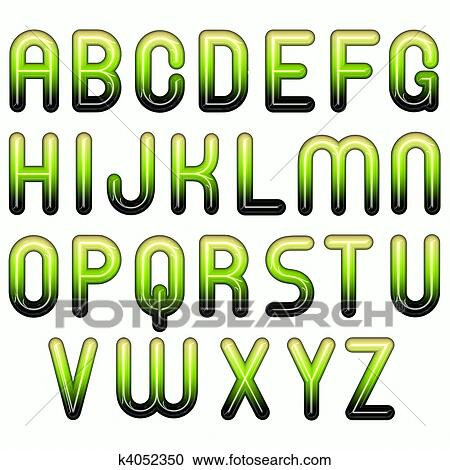 Clipart - green shiny glossy 3d child funny bubble alphabet. Fotosearch