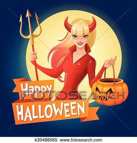 Dessin Anime Halloween Jack.Halloween Vecteur Card Sexy Dame Dans Rouges Costume Halloween De A Diable A Cornes Et Trident Tenue Jack O Lantern Citrouille Basket Clipart K39488565 Fotosearch