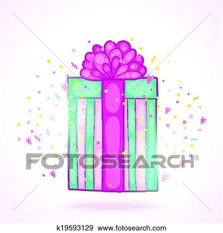 Clip Art Of Happy Birthday Present Gift Box With Confetti K19593129