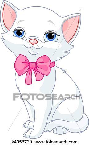 Clipart molto carino gatto bianco k4058730 cerca for Gatto clipart