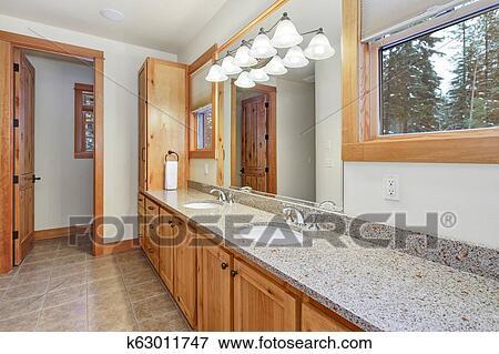 Licht, holz, innere, von, meister, badezimmer Stock Foto