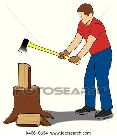 Clipart of Man Splitting Firewood k46610534 - Search Clip Art ...