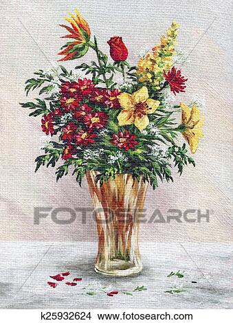 Drawings Of Painting Flowers In A Glass Vase K25932624 Search Clip