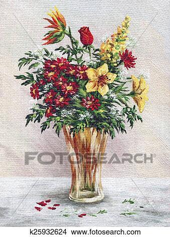 dessins peinture fleurs dans a vase verre k25932624 recherche de clip arts d. Black Bedroom Furniture Sets. Home Design Ideas