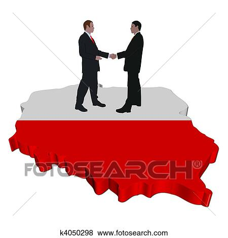 Stock Illustration of people meeting on Poland map flag k4050298 ...