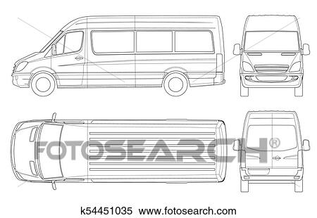 clipart of realistic van template in outline isolated passenger