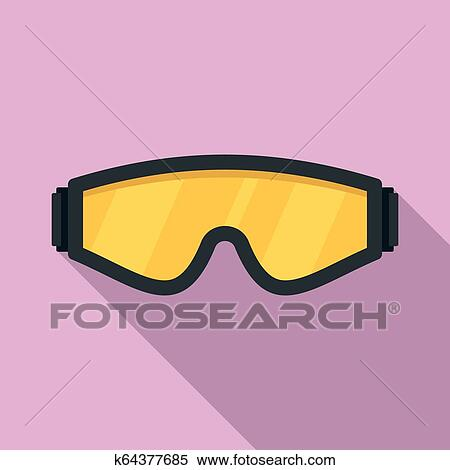 Safety Glasses Icon Flat Style Clipart
