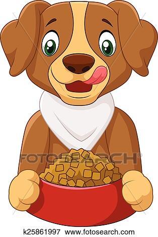 Affamato cane cartone animato con cibo cane clip art