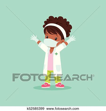 Curly Haired Black Baby Girl In Medical Mask Gloves And White