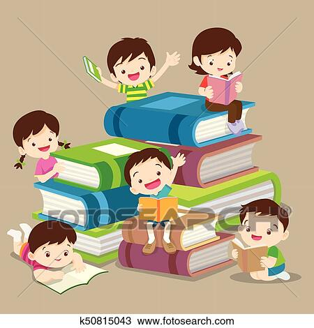Cute Boy And Girl Reading Book Clipart K50815043 Fotosearch