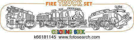 Fire truck or fire engine coloring book set Clipart ...