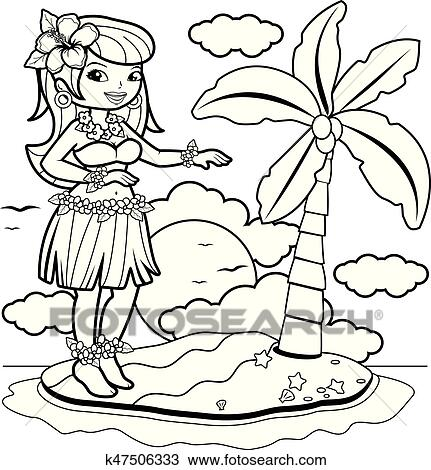 Hula Girl coloring page | Free Printable Coloring Pages | 470x431