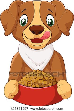clip art of hungry dog cartoon with dog food k25861997 search rh fotosearch com Dog Collar Clip Art dog food bowl clipart