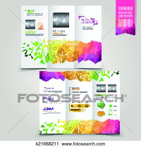Clipart - modernes, schablone, für, werbung, begriff, broschüre, mit ...
