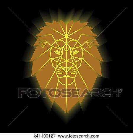 Clipart Or Lion Tête K41130127 Recherchez Des Cliparts Des