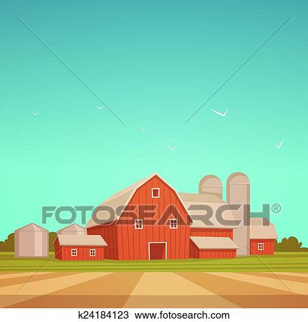 clipart of red farm barn k24184123 search clip art illustration