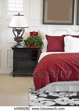 Stylish Bedroom Interior In New Hom Stock Image K4069282 Fotosearch