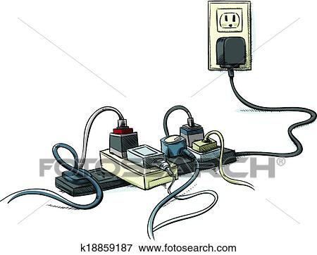 Clip Art of Tangled Power Cords k18859187 - Search Clipart ...