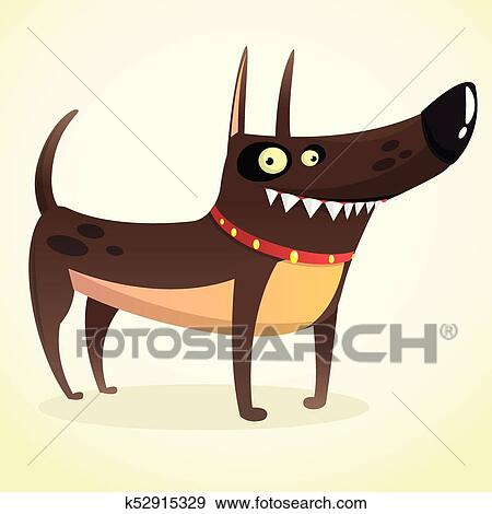 Tenace doberman cher cartone animato illustration isolato