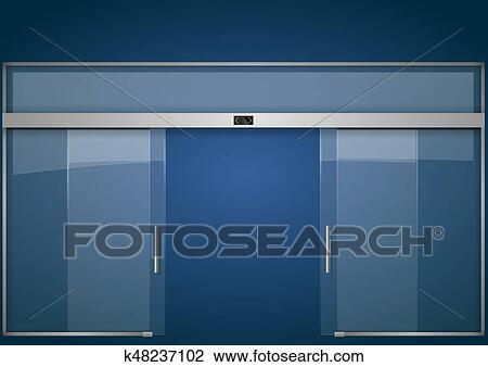 Clipart Of Automatic Glass Doors K48237102 Search Clip Art